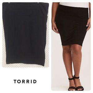 Torrid Black Knit Foldover Pencil Skirt